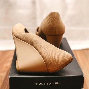Tahari nude wedge